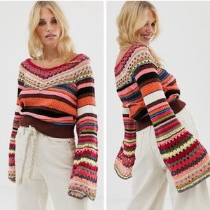 Free People Heart and Soul Crochet Sweater